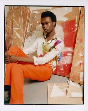 Watercolour shirt and orange trousers by Berluti