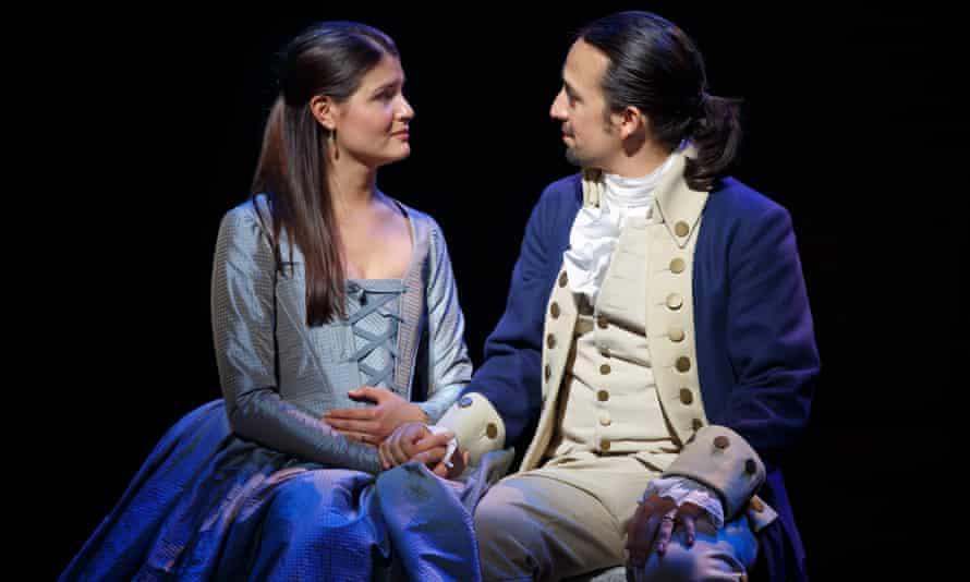 Lin-Manuel Miranda as Hamilton with Phillipa Soo as his wife, Eliza.