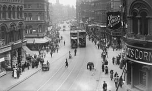 Boar LaneTrams on Boar Lane, Leeds, Yorkshire, July 1921. (Photo by Topical Press Agency/Hulton Archive/Getty Images)