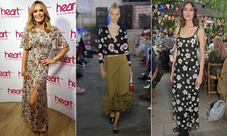 Amanda Holden, left, in Topshop's Austin daisy dress; a model wears a daisy cardigan in the Molly Goddard SS19 show, centre; and Alexa Chung, right.