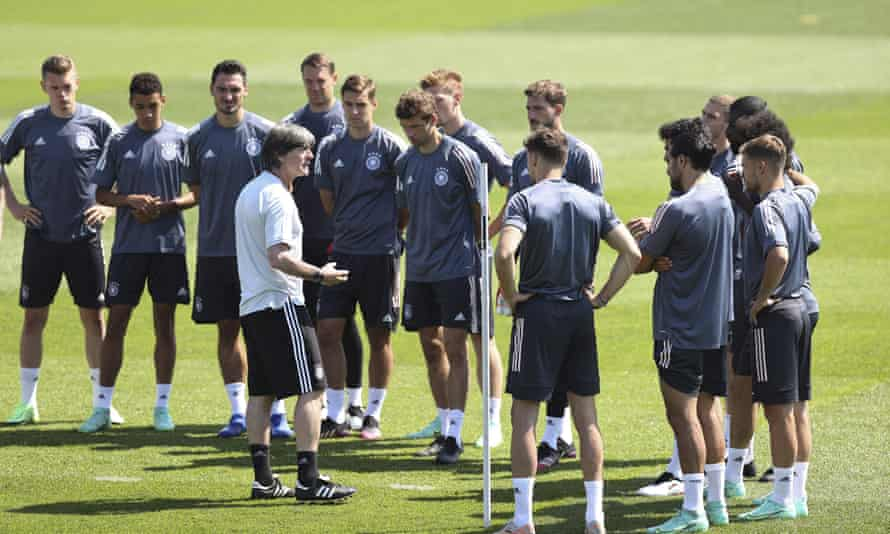 Joachim Löw delivers instruction to his players ahead of Saturday's meeting with Portugal.