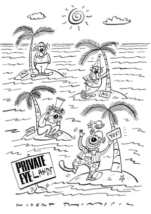 The desert island is one of the recurring devices in cartoons, as this one by Robert Thompson, showing stranded clowns facing acceptance or rejection, shows.