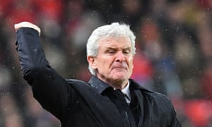 Mark Hughes reacts on the touchline during Stoke City's 1-0 defeat by Newcastle United