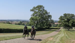 Little Marcle, Herefordshire: horses from Ed de Giles' stables prepare for the resumption of horse racing in England