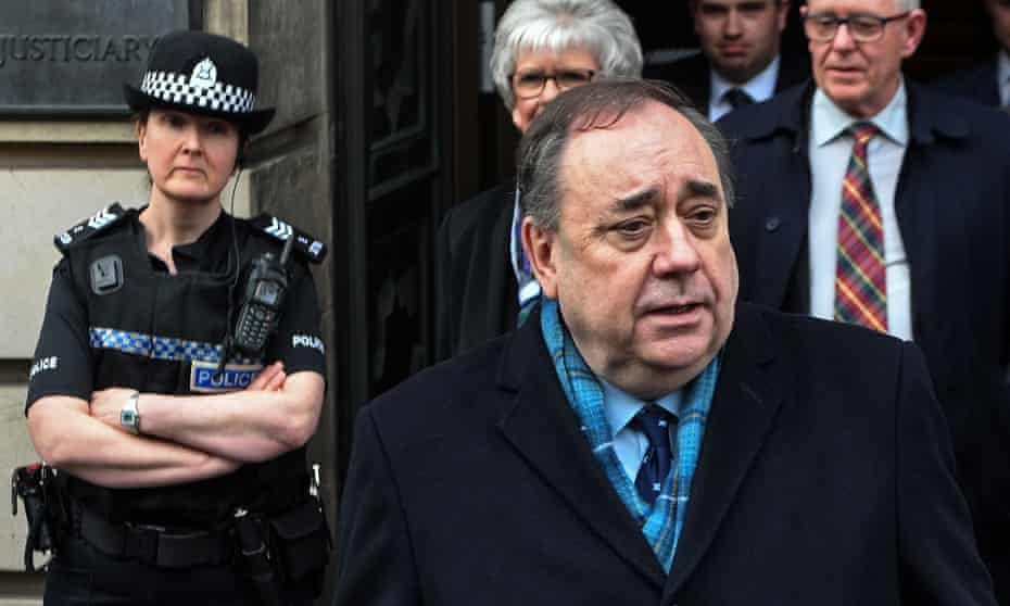 Alex Salmond speaks to the media as he leaves the high court in Edinburgh after being acquitted