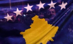 Kosovo Albanians celebrate with the new Kosovo flag the independence in Kosovo capital Pristina