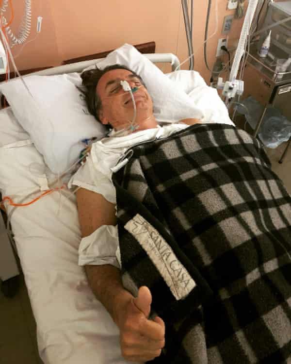 Bolsonaro gives the thunbs-up from hospital.