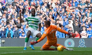 Celtic's Odsonne Edouard scores his side's first goal of the game at Ibrox.