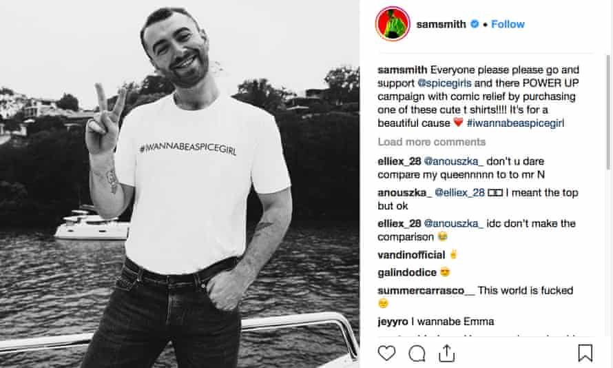 Sam Smith wearing a charity T-shirt