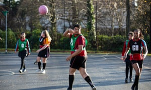 A mixed netball class at the school