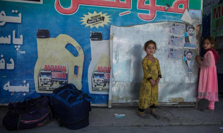 Two children at the Turkham border, the official crossing point between Afghanistan and Pakistan