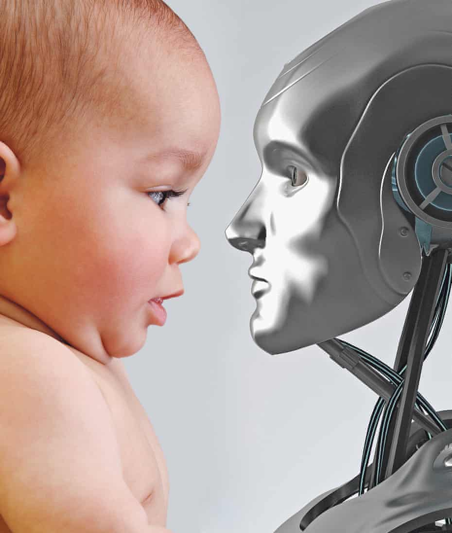 illustration: baby and robot face-to-face
