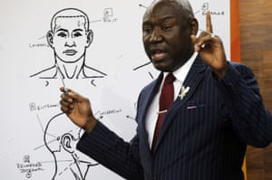 Attorney Ben Crump discusses the results of a forensic examination on Emantic Bradford Jr, during a news conference in Birmingham on Monday.