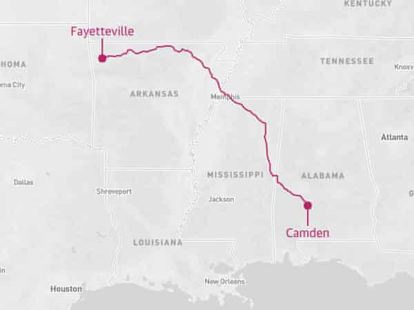 The new south: Fayetteville, Arkansas to Camden, Alabama