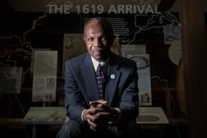 Mayor Donnie Tuck at the Hampton History Museum in an exhibit commemorating the 1619 first arrival of Africans in English-occupied North America.