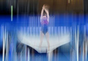 Rosie MacLennan of Canada practices moments before competing in the women's trampoline qualification round.