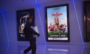 A poster for Khun Tongdaeng: The Inspiration at a cinema in Bangkok. The animated film is based on the Thai king's favourite dog.