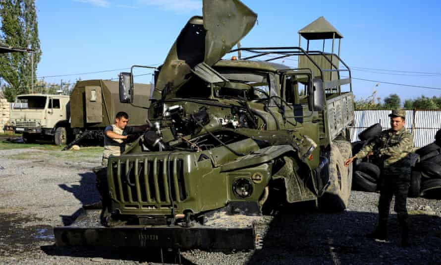 An Armenian military truck damaged in fighting with Azerbaijan over the breakaway region of Nagorno-Karabakh.
