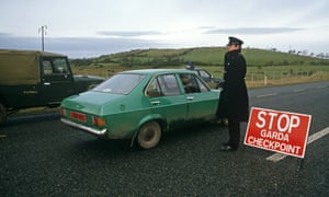 An Irish police checkpoint in Donegal near the border with Northern Ireland in 1985