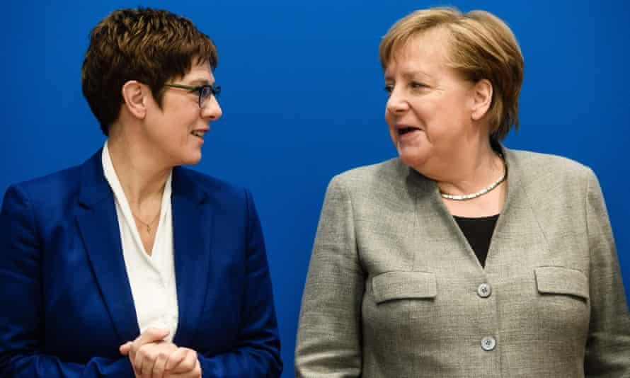 CDU politicians Annegret Kramp-Karrenbauer and Angela Merkel, Berlin, February 2020