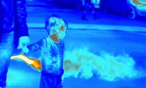 Thermal imaging shows how children's shorter height places them closer to passing exhaust fumes.