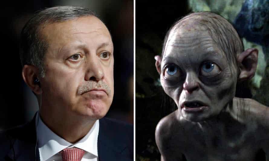 Bilgin Çiftçi compared Erdoğan (left) to Gollum.