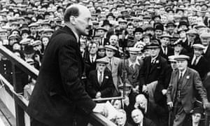 Clement Attlee addresses a political rally in July 1938
