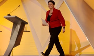 Ruth Davidson walks on to the stage before the BBC1 debate.