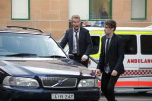 Richard Roxburgh as Cleaver Greene and Keegan Joyce as Fuzz