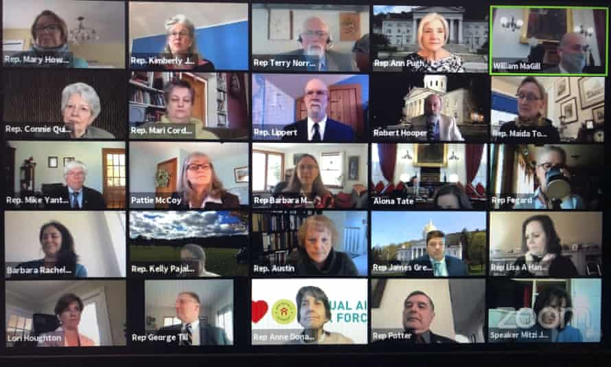Members of the Vermont House of Representatives convene in a Zoom video conference. The platform's daily active users shot up from around 10 million to 200 million.