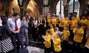 Justin Trudeau with the choir.
