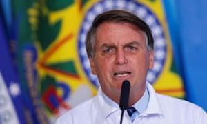 Brazil's president Jair Bolsonaro speaks during a ceremony at the Planalto Palace in Brasilia, Brazil in January
