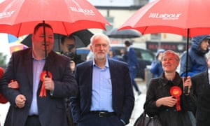 Jeremy Corbyn visiting Trafford in Greater Manchester