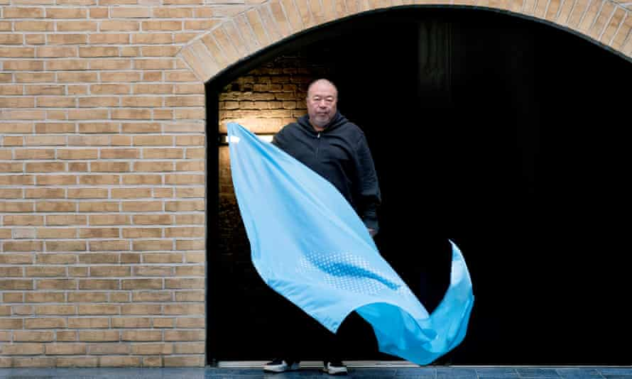 Ai Weiwei with his flag to mark the 70th anniversary of the declaration of human rights