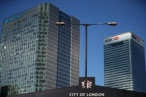 HSBC and Barclays' buildings in Canary Wharf.