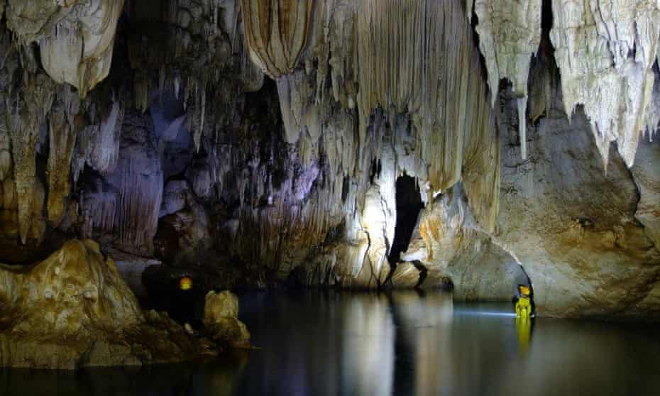 Caving in Khammouane province, Laos.