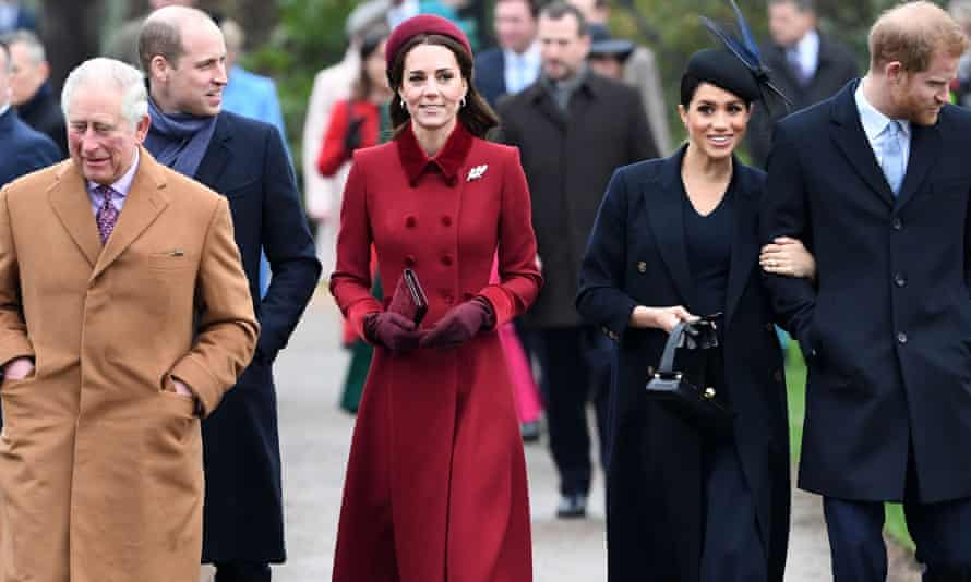 Prince Charles, Prince William, Kate, Duchess of Cambridge, Meghan, Duchess of Sussex and Prince Harry arrive for the Christmas Day service in Sandringham in December.