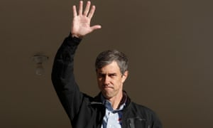 Beto O'Rourke waves from his front porch in El Paso, Texas, on 6 November.