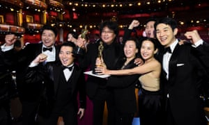 Director Bong Joon-ho and the cast of Parasite celebrate their win at the 92nd Oscars in Hollywood.