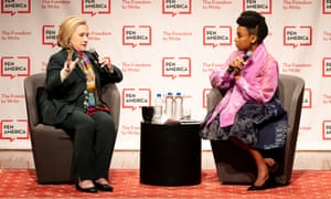 Hillary Clinton with Adichie at PEN America's World Voices Festival in New York in April, 2018.