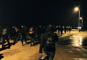 The refugees walk to Turkey's border with Greece.