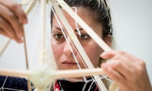 Light work … Nasrin, a refugee from Iran, making lamps in Olafur Eliasson's workshop.