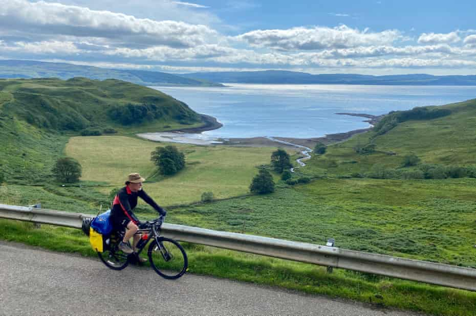 Kevin bikepacking along the shore of Ardnamurchan, the Highlands, Scotland.