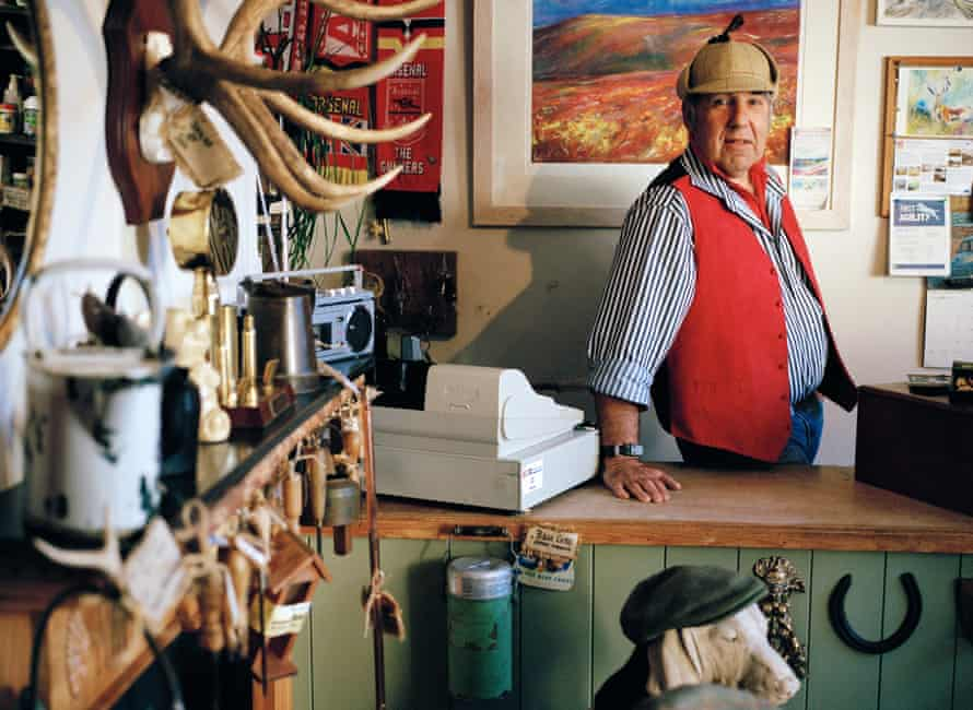 Richard Growden at his shop in Porlock, near, Minehead, selling antlers and pet supplies