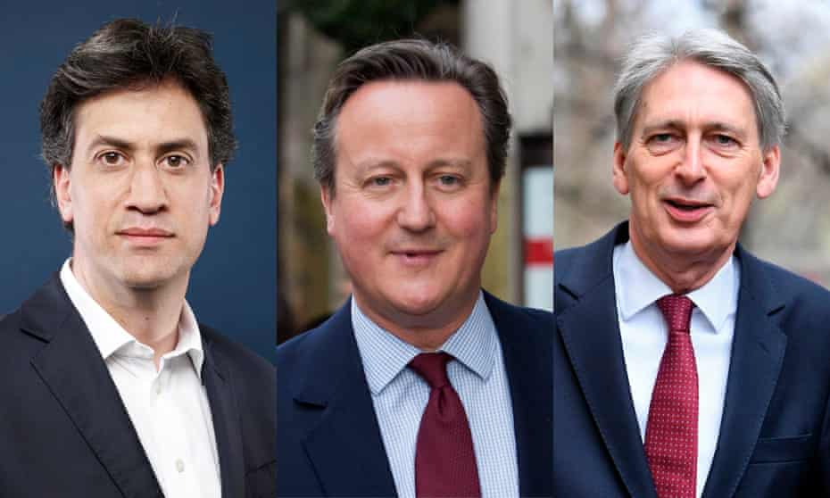 Ed Miliband, David Cameron and Philip Hammond