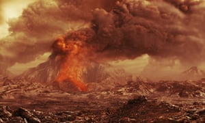 Artist's impression of an active volcano on Venus. The Akatsuki mission could answer longstanding questions, such as whether the planet has volcanic activity.
