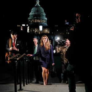 The White House communications director, Hope Hicks, leaves the US Capitol