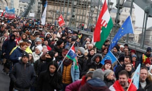 A protest against a proposed new labour law, dubbed the 'slave law', in Budapest, January 2019