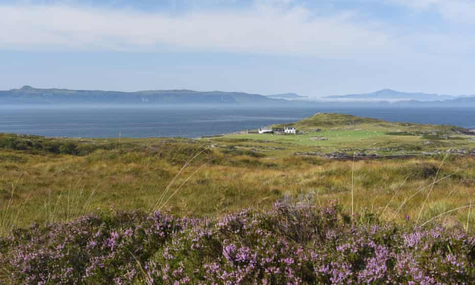 Euan's secret hideaway, heather in foreground, with Raasay's volcano in the distance.