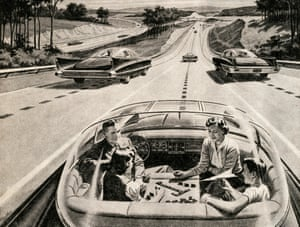 Now just 10 years away … a 1950s illustration of a family playing a board game while their electric car does the driving.
